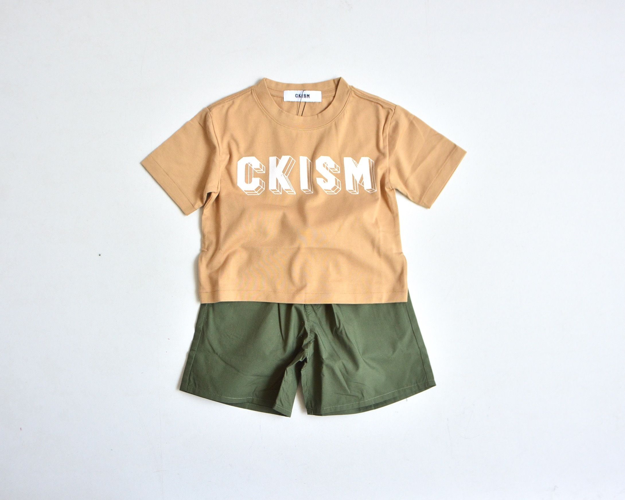 【 CKISM 2017SS 】 Big Tee + Wide Shorts Set / Beige x Kahki / size 100~150cm