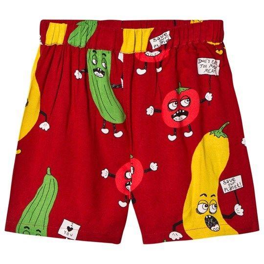 【 mini rodini 2018SS 】Veggie woven shorts/ Red