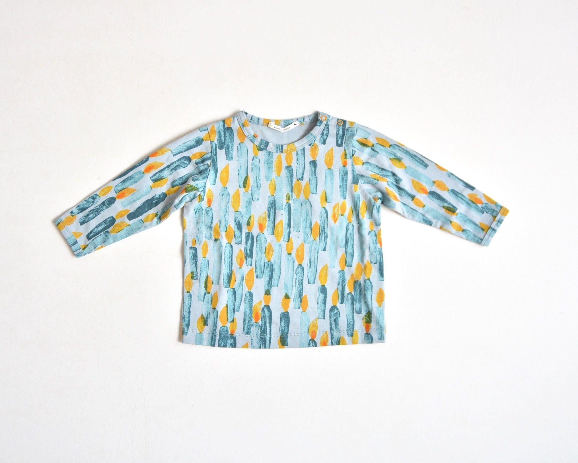 """【ミナペルホネン 17AW】 ロングスリーブTシャツ """"candle"""" / light blue / 110cm~ (VA8849P)"""