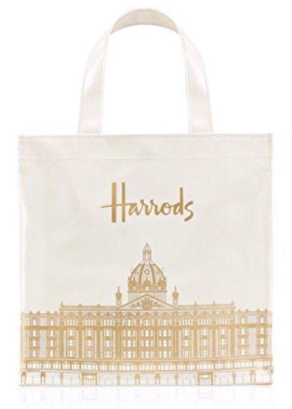 [Harrods] ハロッズ トートバッグ ショッピングバッグ - Sサイズ  『スケッチビルディング ホワイト』