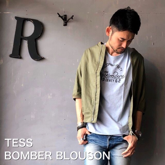 """TESS """"ボンバー半袖ブルゾン"""" Olive"""