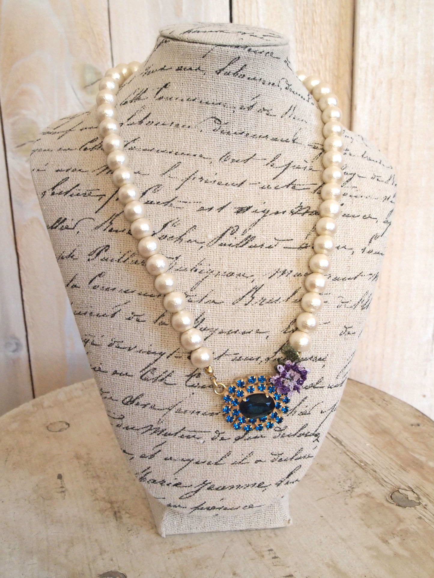 cotton pearl bijou pendant blue x purple flower