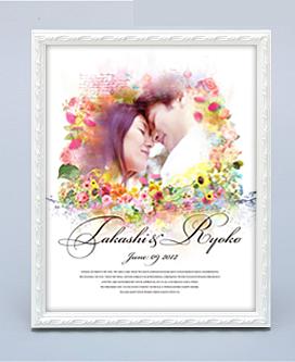 ウエルカムボード「Wedding Art」(フレームアートタイプ:ホワイト/四切サイズ)