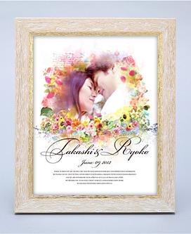 ウエルカムボード「Wedding Art」(フレームアートタイプ:ホワイト&ゴールド/四切サイズ)