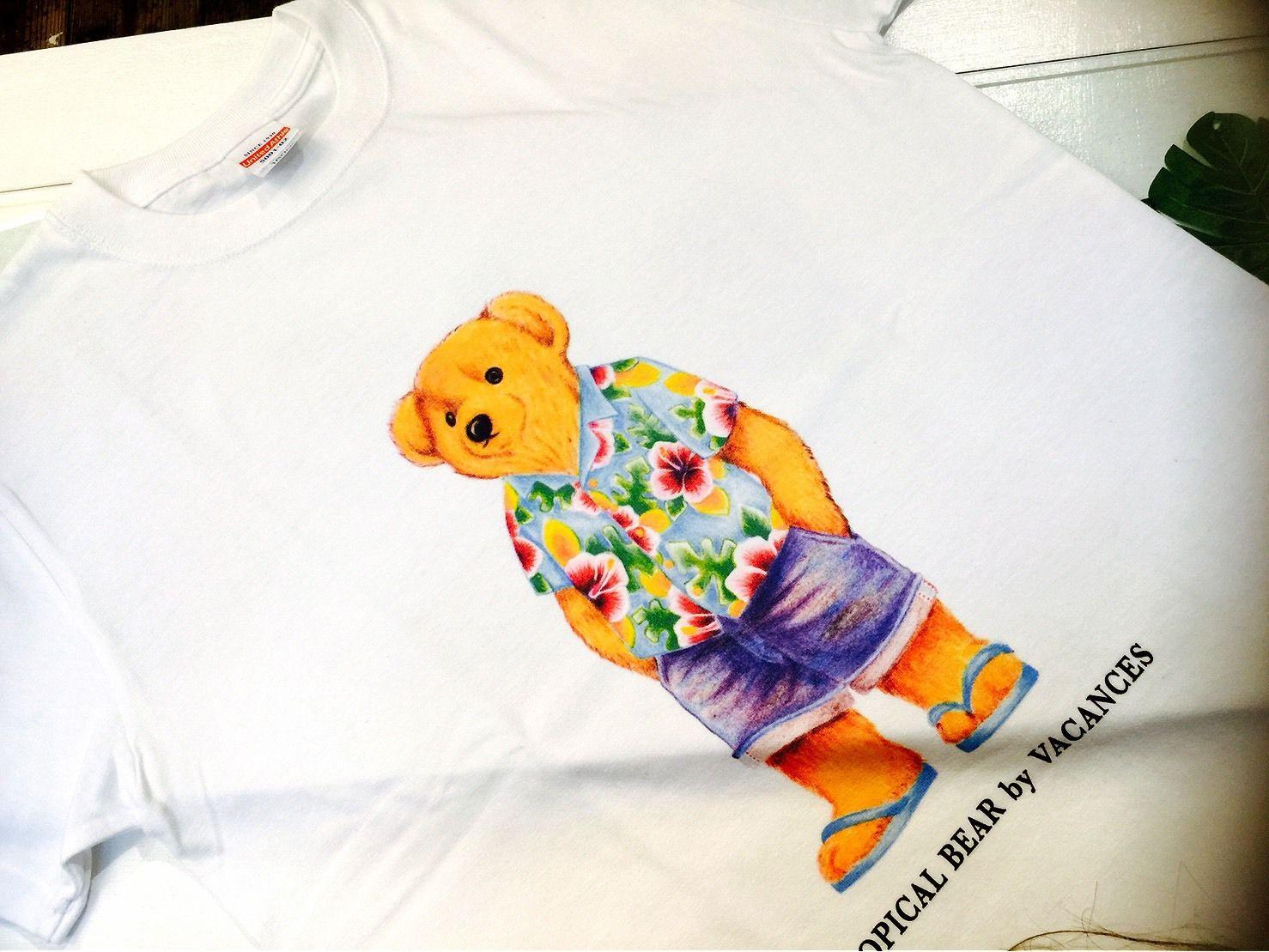 キッズ TROPICAL  BEAR アロハ(白)