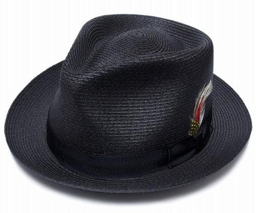 NY.HAT SEWN BRAID FEDORA BLACK(ニューヨークハット ストローハット黒)Newyork hat.co black
