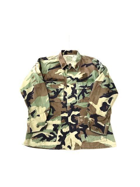 【USED】military shirt 1 ウッドランドカモ M