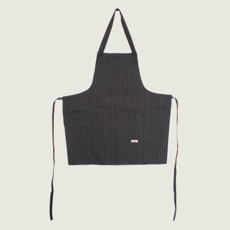 【イタリア製】胸付きショートエプロン カカオ(ストライプ柄)エゴシェフ