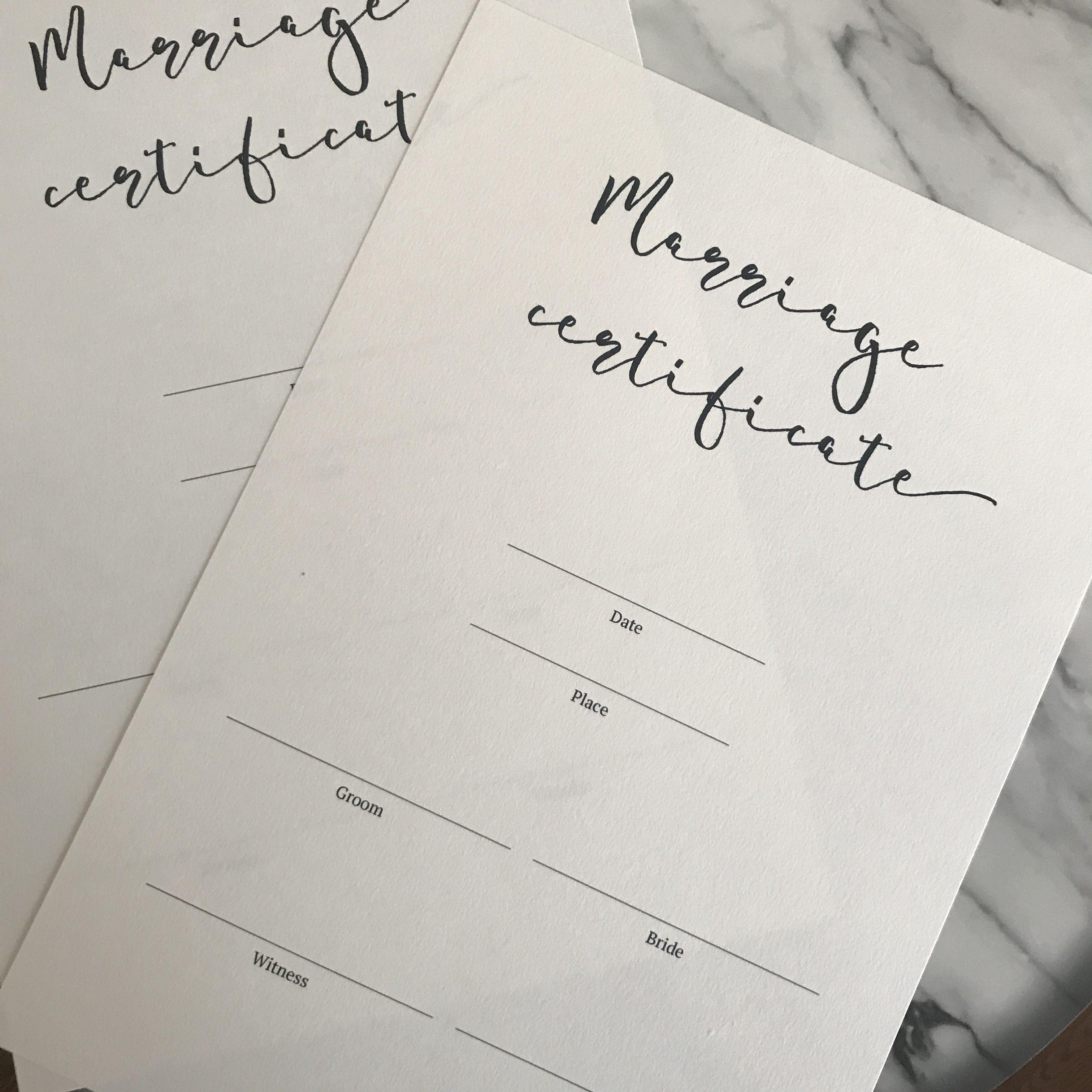結婚証明書2枚セット?シンプル?【教会用】【人前式用】