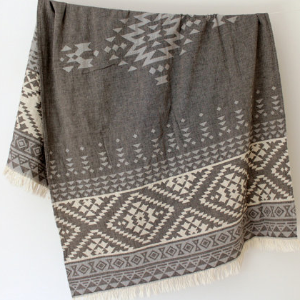 W face Cotton Stole : Navajo Grey × BlueGrey