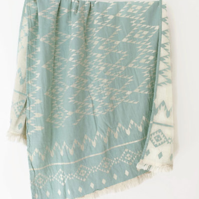 W face Cotton Stole : Navajo White × MintGreen
