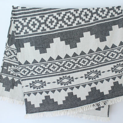 W face Cotton Stole : Navajo White×Grey
