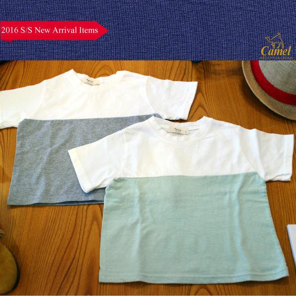 シンプルきりかえ半袖Tシャツ 韓国子供服