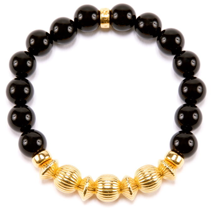 BLACK ONYX & GOLD BALL BRACELET -10mm-
