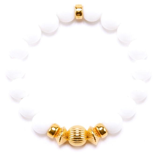 WHITE ONYX & GOLD BALL BRACELET -10mm-