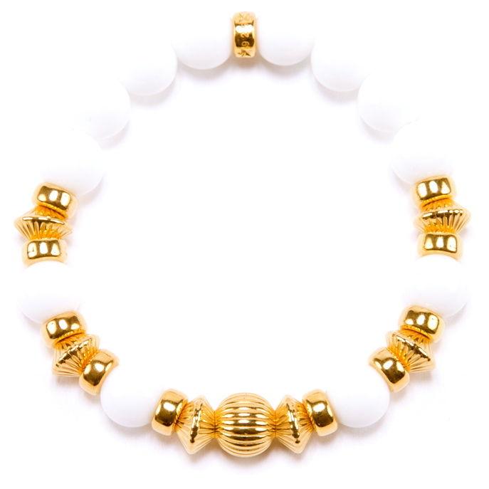 WHITE ONYX & GOLD BALL BRACELET