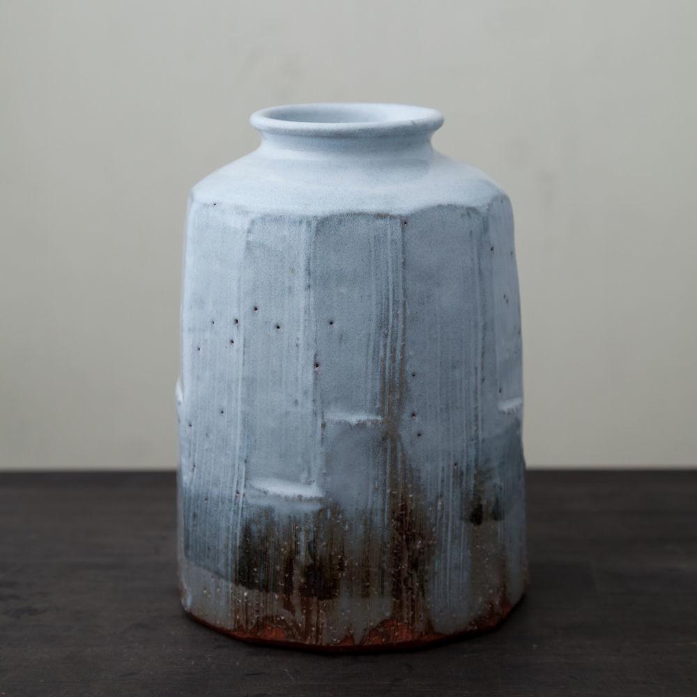 陶器 萩焼 輪花 白萩花入(木箱入)