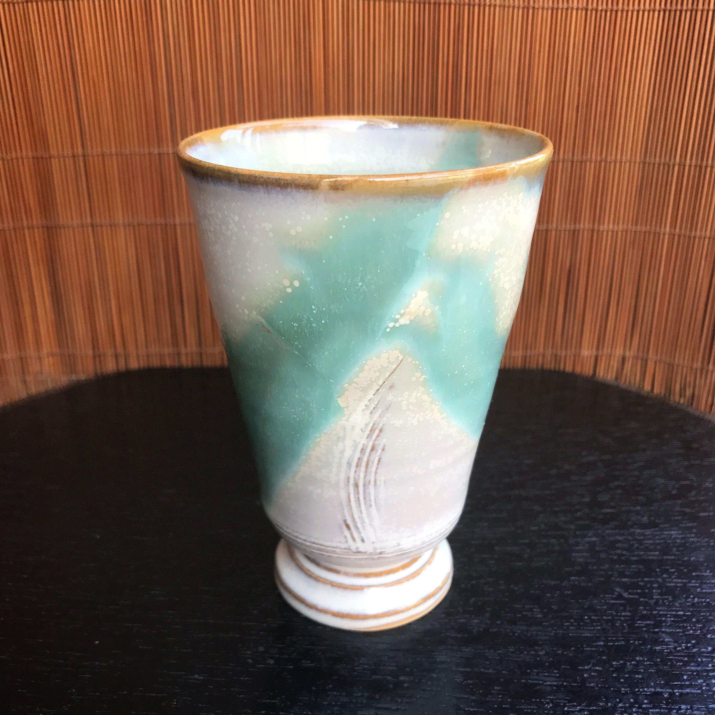 陶器 萩焼 和食器 作家 和モダン カフェ フリーカップ ワイングラス 和グラス マーブル 緑 小田光治
