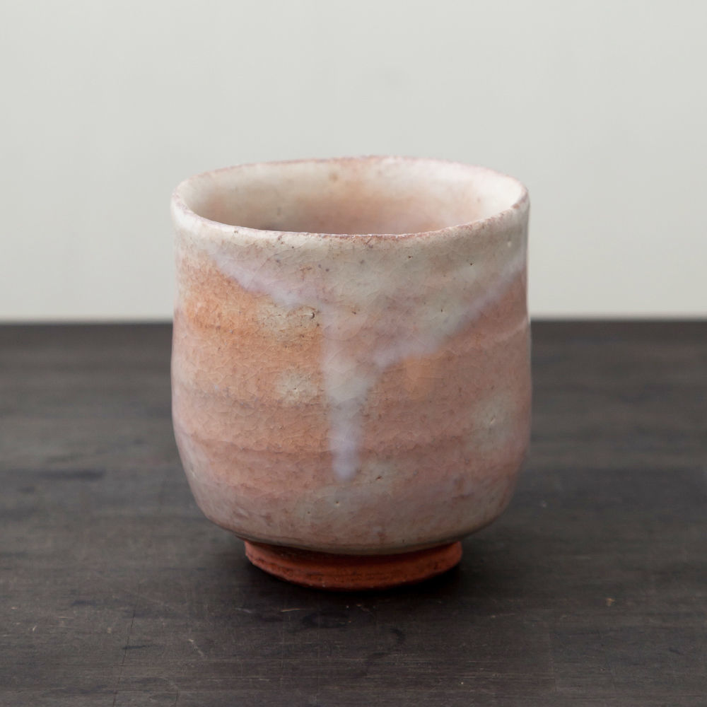 ◆◇陶器 萩焼 輪花◆◇ 湯呑(木箱入) 林紅陽 作