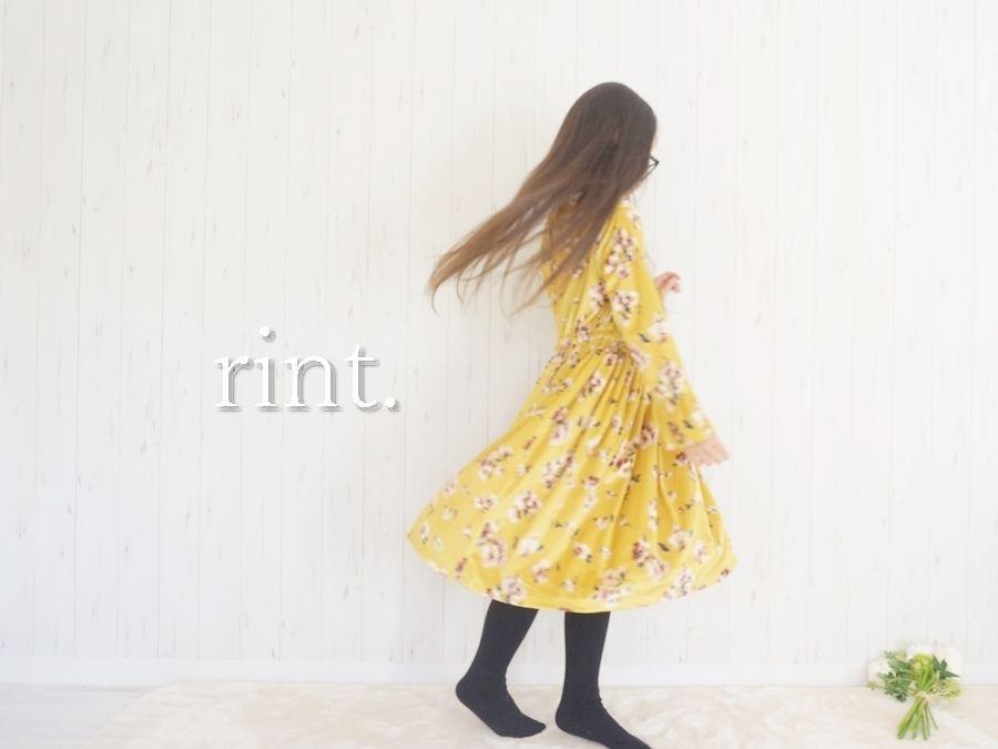 *SALE*GLINDA  花柄ベロアワンピース マスタード《90~130》