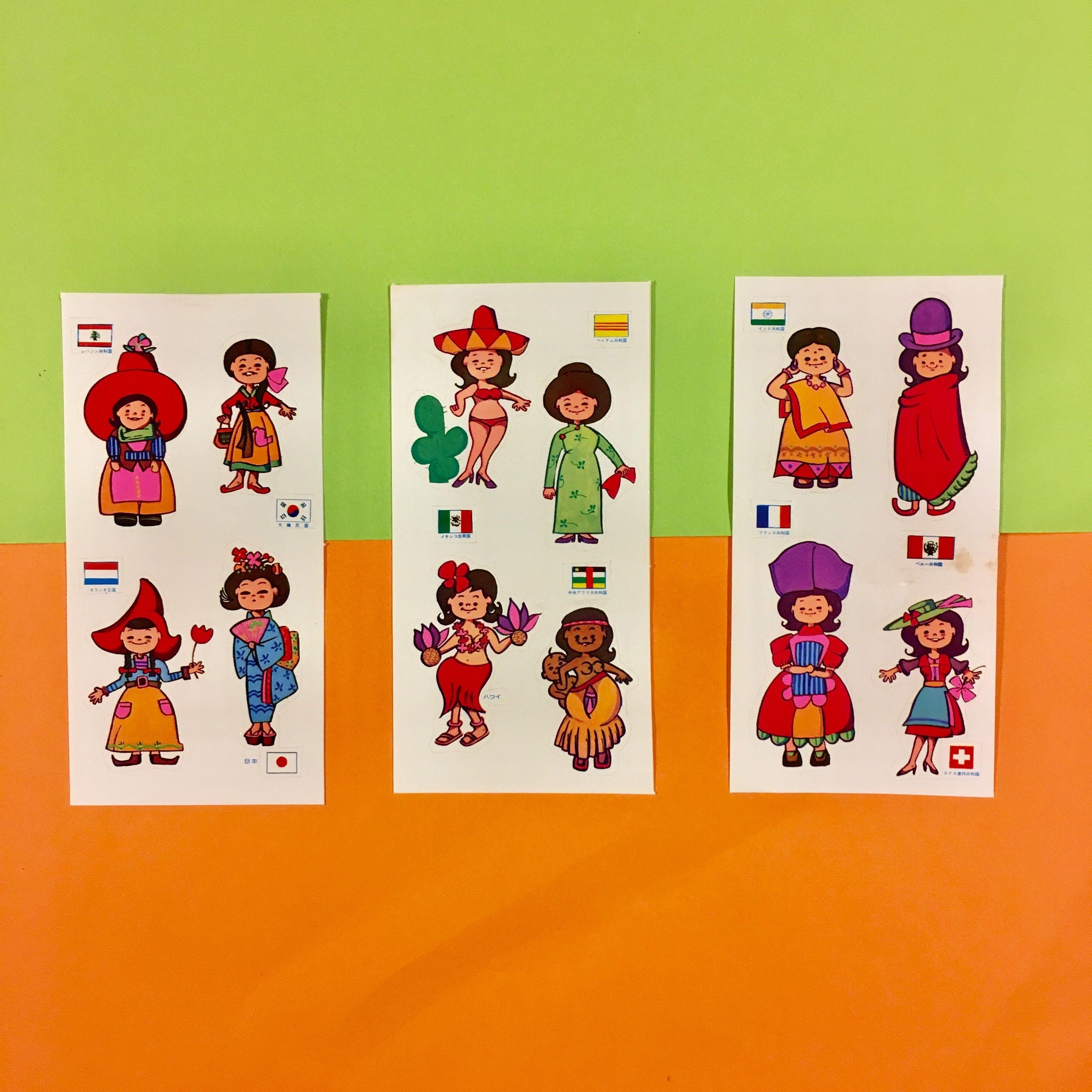 世界の民族衣装 シール 3枚セット ステッカー traditional costume sticker ①