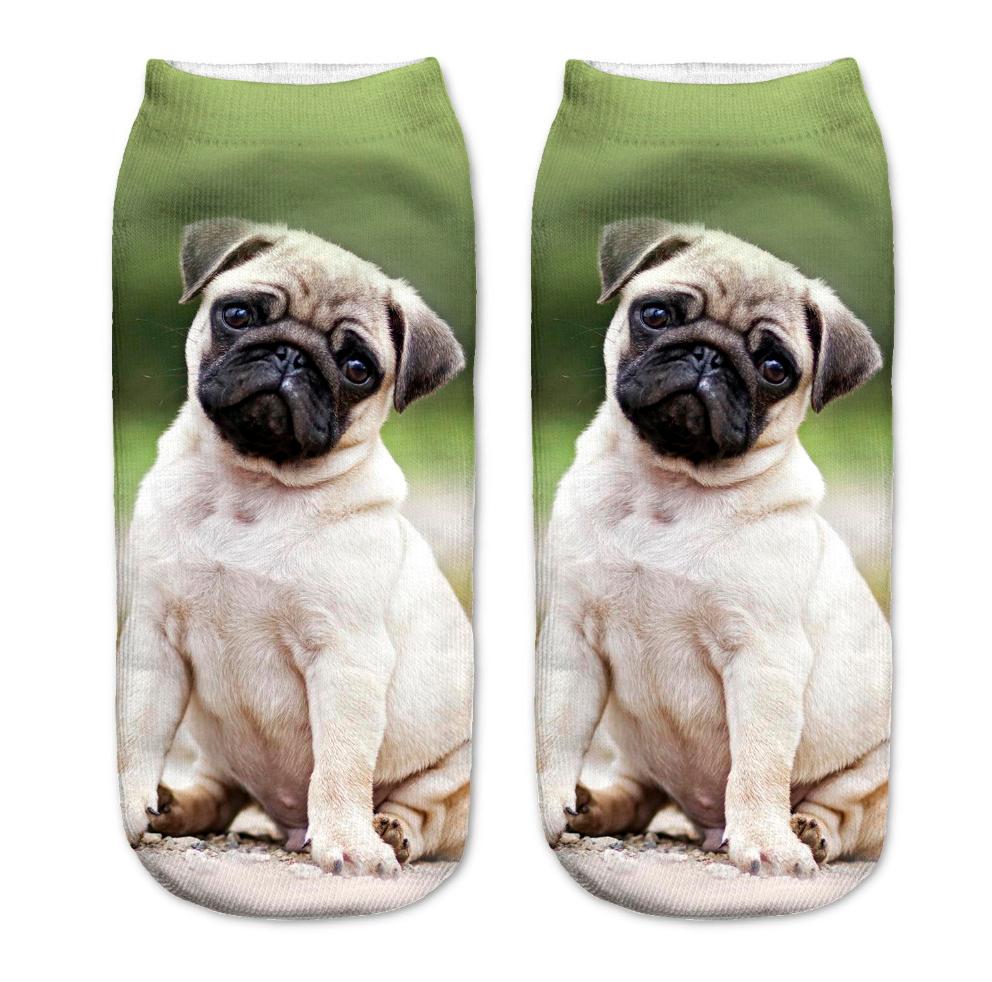 パグ 靴下 女性用 緑 PUG SOCKS