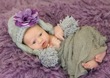 【JamieRaeHats】ジェイミーレイハット<br>Gray Winter Wimple Hat with Purple Small Rose  ウィンターウィンプルハット【4-6Y】