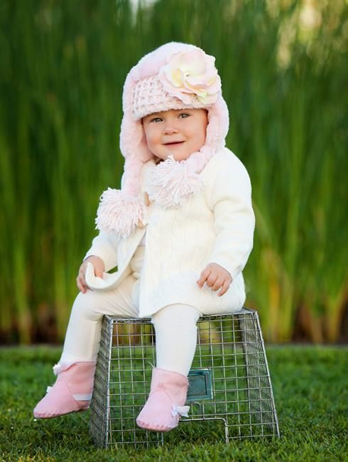 【JamieRaeHats】ジェイミーレイハットPale Pink Winter Wimple Hat with Pale Pink Small Rose ウィンターウィンプルハット【18M-3Y】