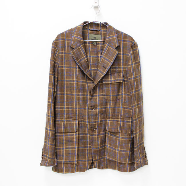 【SALE40%off】Nigel Cabourn(ナイジェルケーボン)- MALLORY JACKET (Linen Ramie Check) -BROWN 定価¥52,920