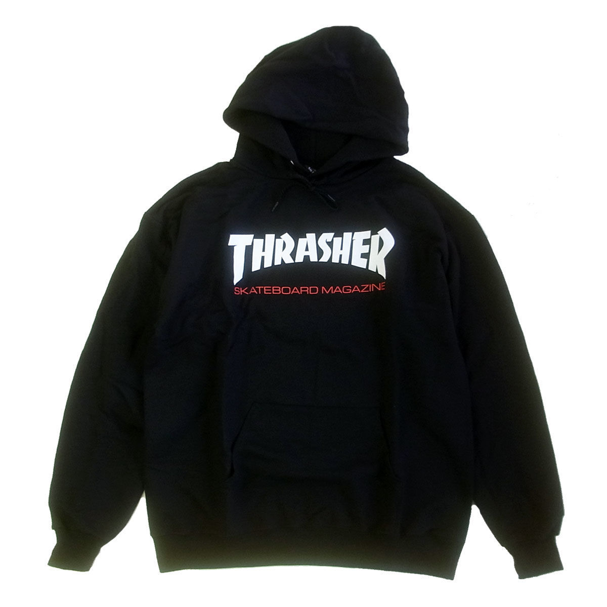 THRASHER TWO-TONE SKATE MAG HOOD BLACK スラッシャー パーカー