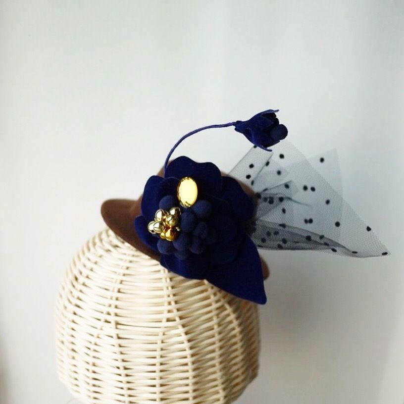 《New》velvet  flower  mini hat BROWN×tule