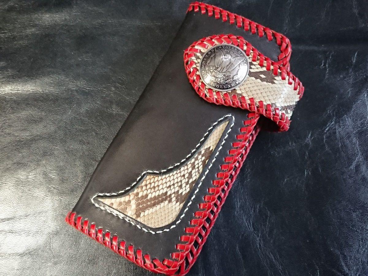 黒牛革&パイソン レッドかがり縫い