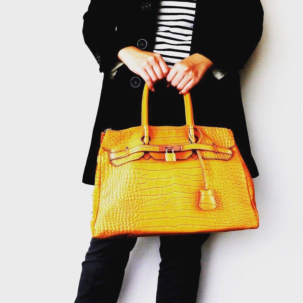 BIRKIN-ISH PRINT BAG: crocodile-golden yellow L-size