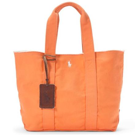 【ラス1】POLO RALPH LAUREN COTTON CANVAS TOTE BAG(Orange)