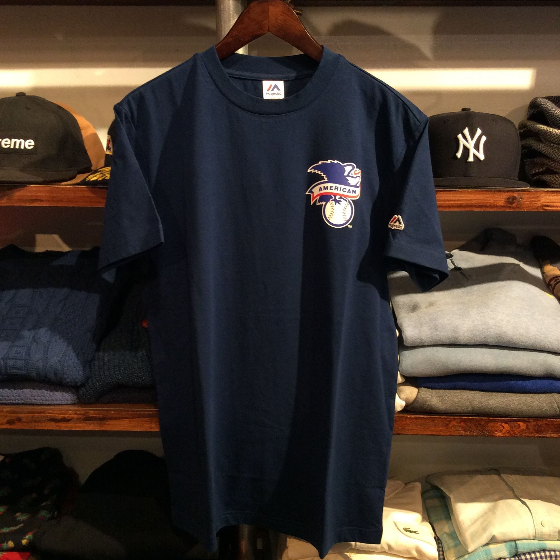 "Majestic ""BACK TEAM logo"" tee (Navy)"