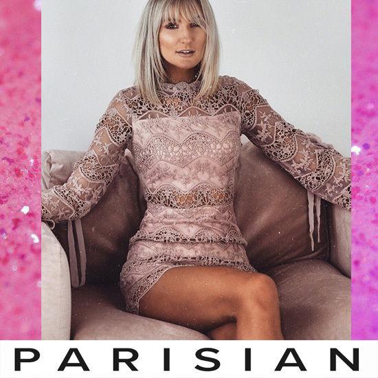 【取り寄せ】【Parisian】?総レース長袖ボディコンミニワンピース/ピンク