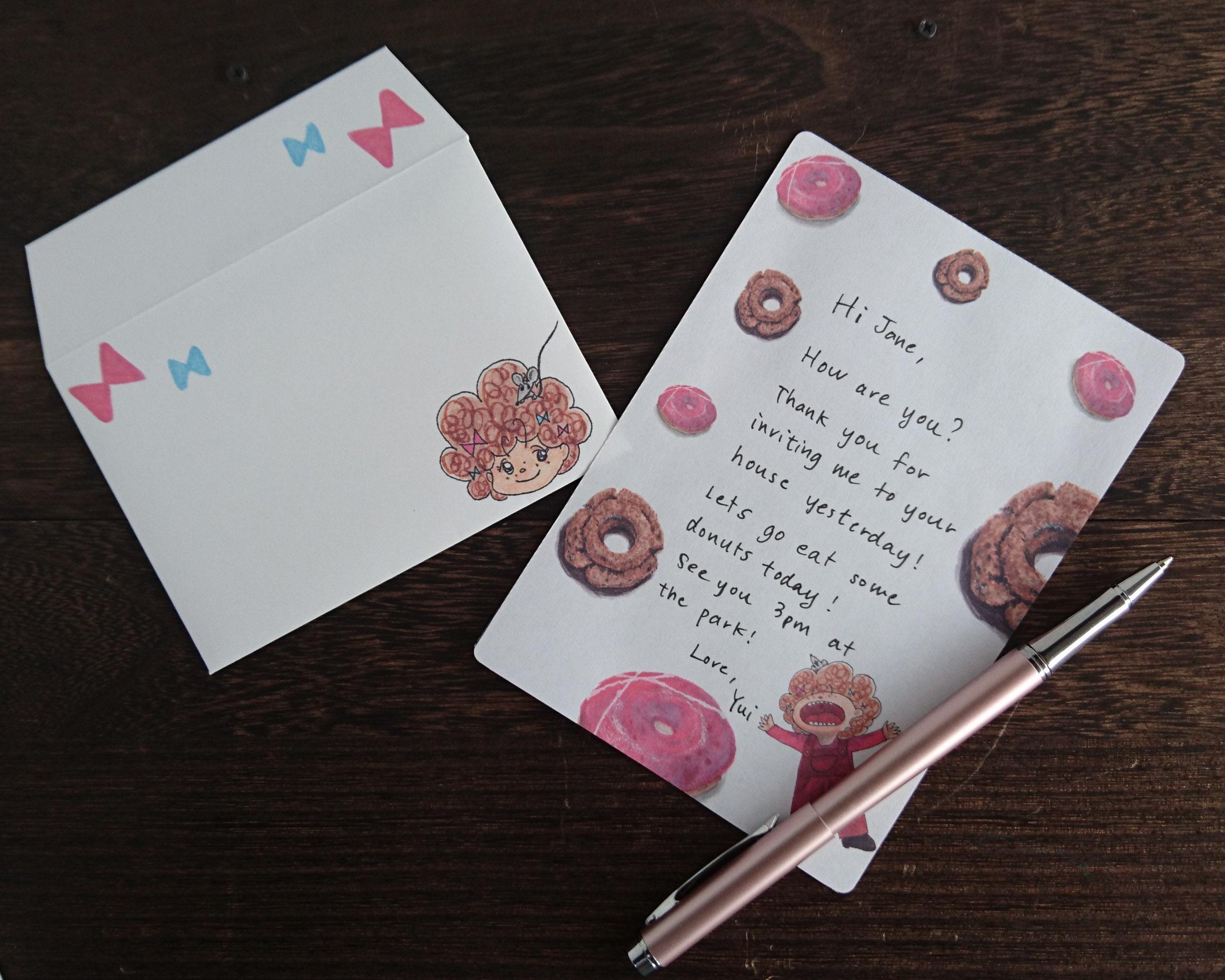 あーん!ドーナツべたい!ミニレターセット(ホワイト) Donuts Letter set (White)