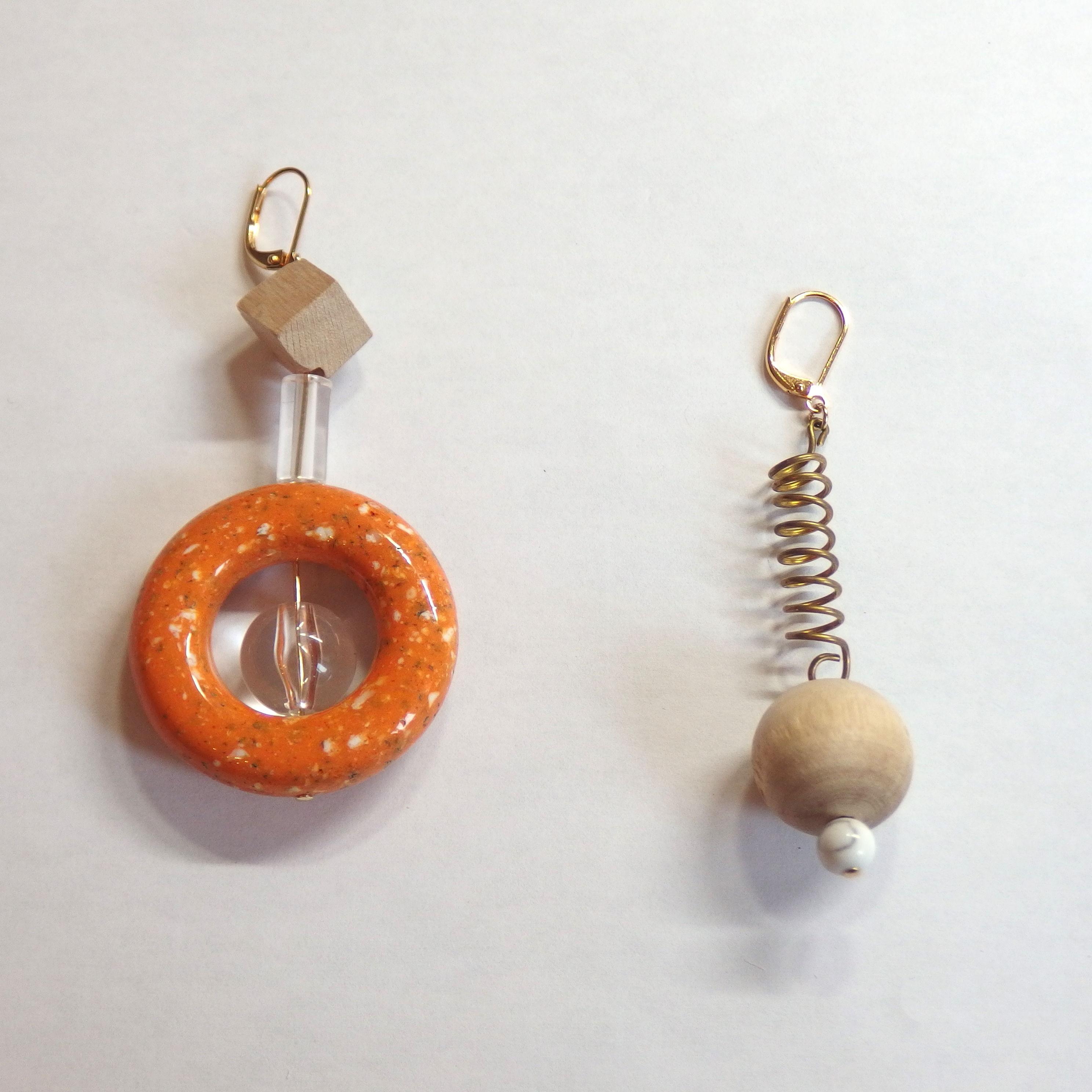 Asymmetry Pierce Orange (イヤリング/チタンピアス変更可能)