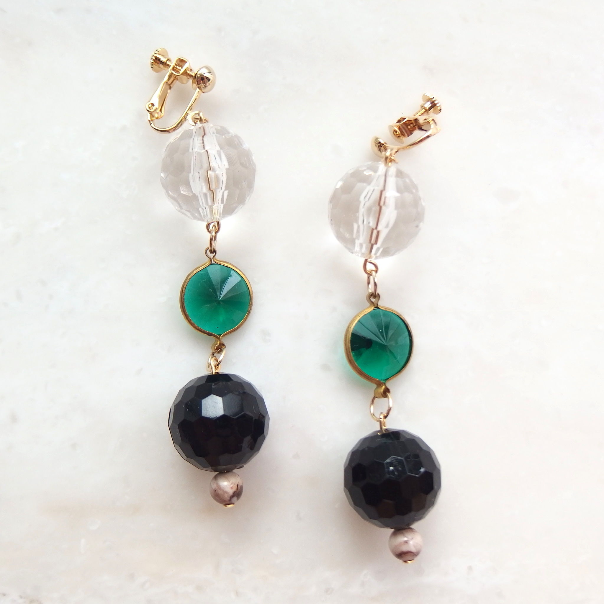 Green Clear Earring (ピアス/チタンピアス変更可能)