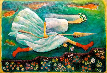 アクリル画「やじるし姫」 257×364mm SATOO ST069