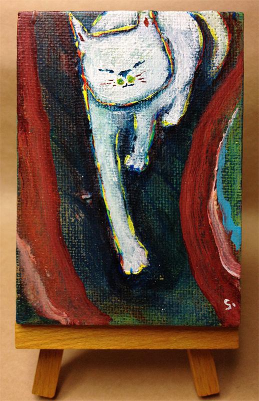 ST029猫の絵「パトロール」 ミニキャンバス 左藤芳美