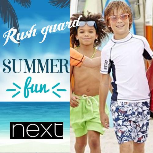 ?? UPF+50 NEXT 男の子  Sunsafe Vestカッコイイ男の子 キッズ ホワイト 半袖ラッシュガード 水着 紫外線から守ろう♪★