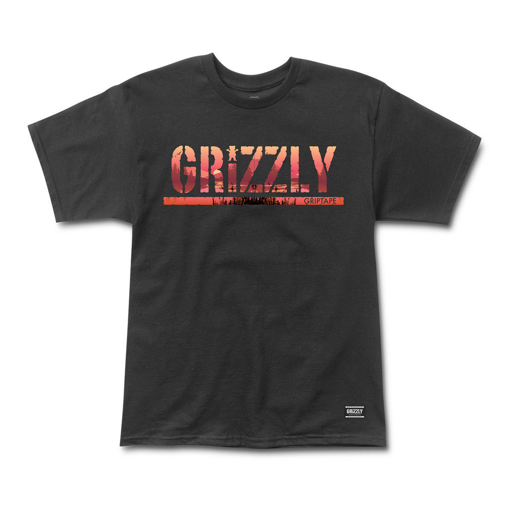 GRIZZLY GRIPTAPE SWAMP STAMP TEE BLACK