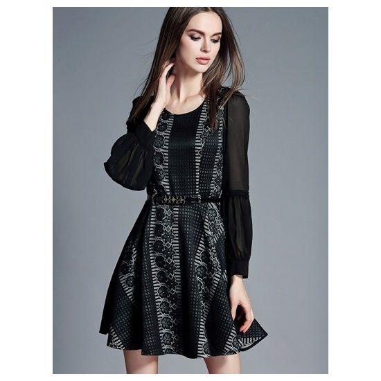 【ワンピース シフォン】ワンピース 大人 上品 きれいめ 大きいサイズ ドレス 長袖 ミニ フレア 黒 ブラック M,L,XL,XXL 送料無料