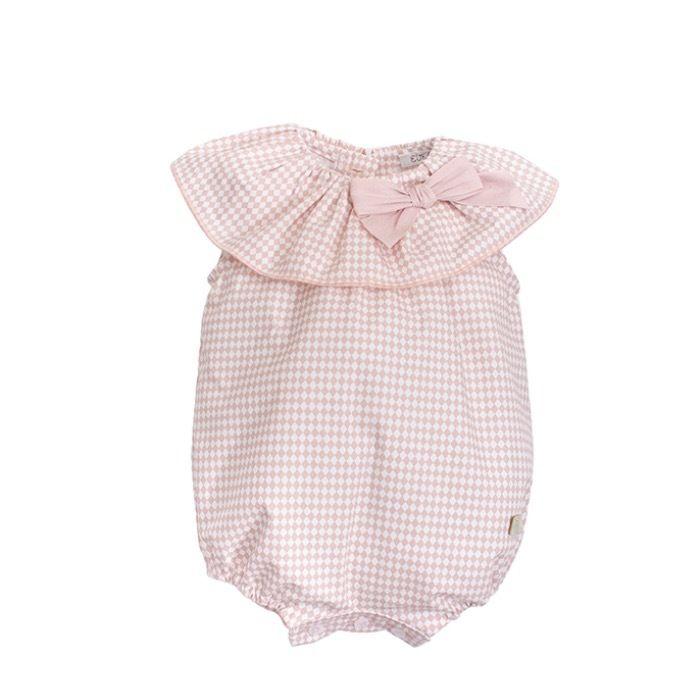 ピンクダイヤ柄ロンパース