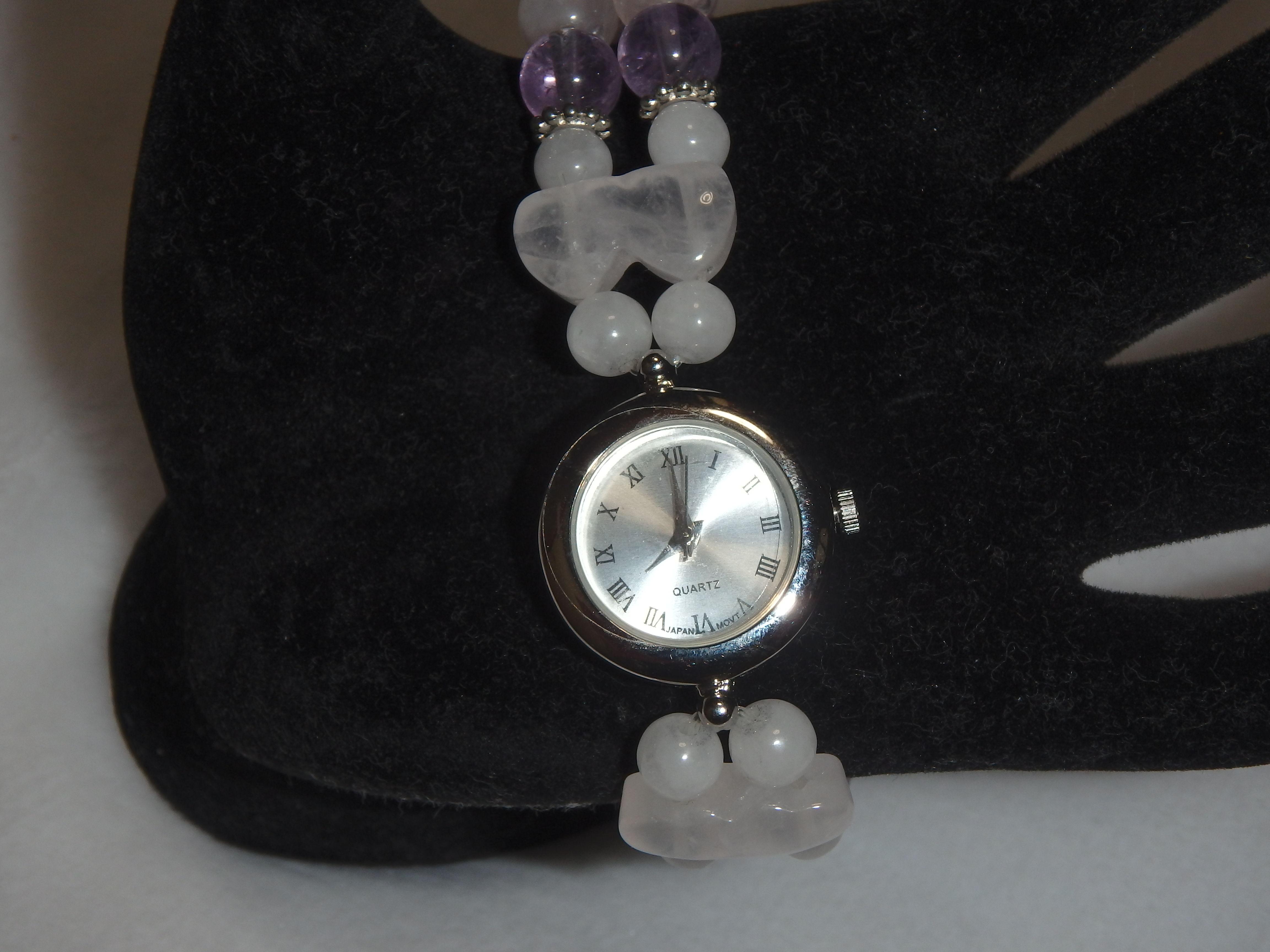 「クオーツ時計とパワーストーンブレスレットを融合したPower Stone Quartz Watch Bracelet (パワーストーンクォーツウオッチブレスレット)」【 Juri (珠理)】