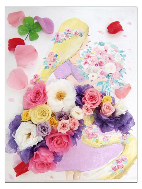 【プリザーブドフラワー/塔の上の恋するプリンセス立体フレームアレンジ】白いフレームの中には恋するプリンセスのキュートなお花たち