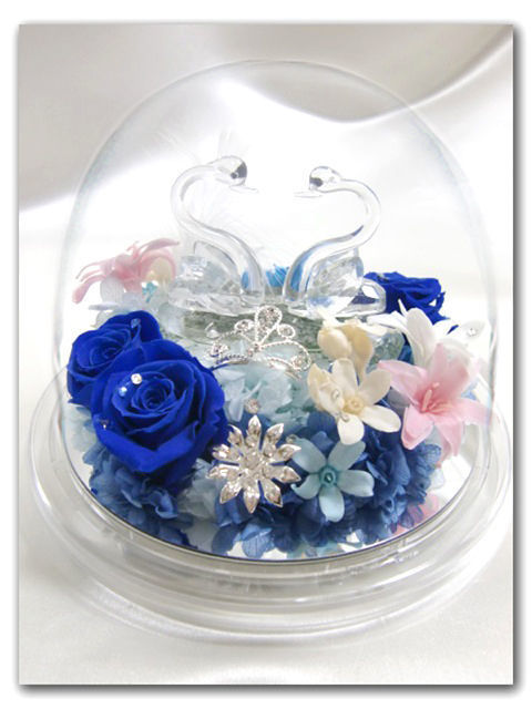 【プリザーブドフラワー/オルゴールシリーズ・白鳥の湖】静かな水をたたえる湖にやさしく浮かぶ2羽のスワンが、青い薔薇に誓った永遠の愛