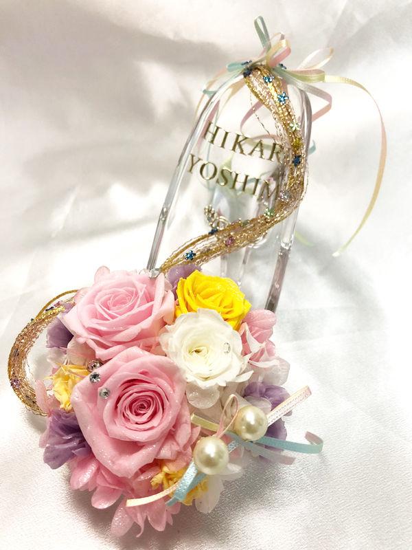【プリザーブドフラワー/ガラスの靴/プリンセスの魔法の髪】プリンセスの金色の髪と魔法