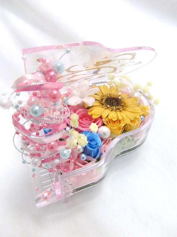 【プリザーブドフラワー/グランドピアノシリーズ】ピンクとブルーの薔薇とガーベラのパール弾ける魔法